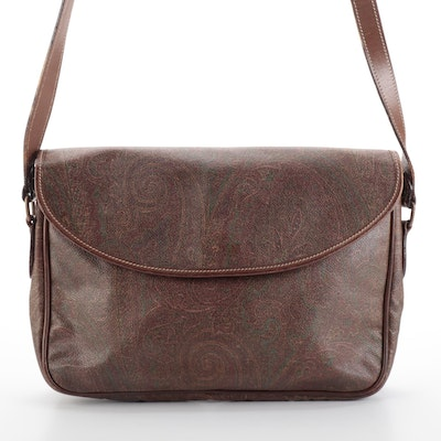 Etro Flap Shoulder Bag in Paisley Coated Canvas and Dark Brown Leather