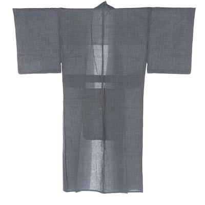 Yukata in Woven Navy and White Check Pattern, Shōwa Period