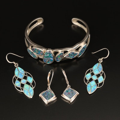 Sterling Opal Cuff and Earrings Including Opal Mosaic