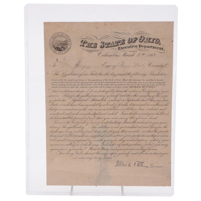 """""""Squirrel Hunters"""" Letter Dated March 4, 1863, Signed David Tod, Ohio Governor"""