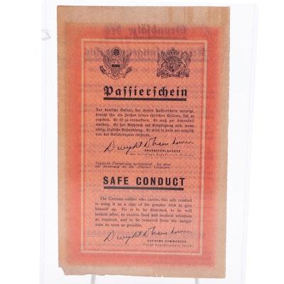 "WWII ""Safe Conduct"" Pass, Original Surrender Leaflet, 1944"