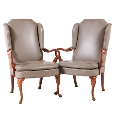 Pair of Queen Anne Style Cherrywood and Leather Wingback Open Armchairs