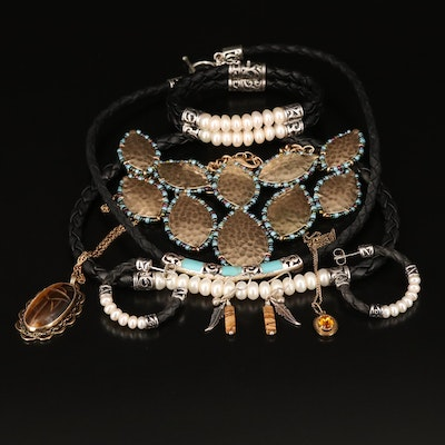 Jewelry Grouping Including Honora, Sterling, Tiger's Eye and Pearl
