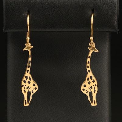 14K Gold Enameled Giraffe Drop Earrings