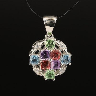 Sterling Silver Sapphire, Garnet and Aquamarine Pendant