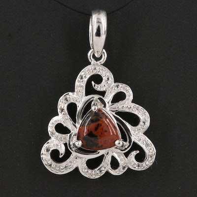 Sterling Silver Mahogany Obsidian and White Topaz Openwork Pendant