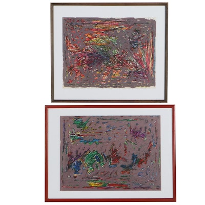 """Achi Sullo Abstract Mixed Media Paintings """"Mythical Creatures,"""" Circa 1965"""