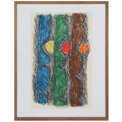 Achi Sullo Abstract Mixed Media Painting, Circa 1962