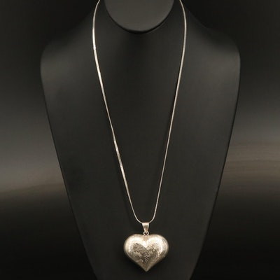 Sterling Engraved Puff Heart Pendant Necklace