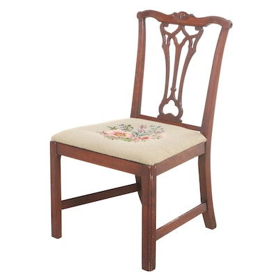 Chippendale Style Hardwood and Needlepoint Side Chair, Early to Mid 20th Century