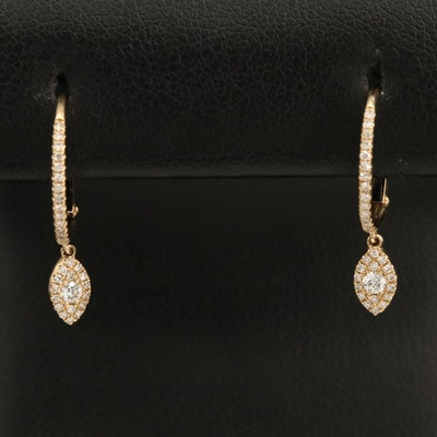 14K 0.21 CTW Diamond Hoop Earrings with Drops