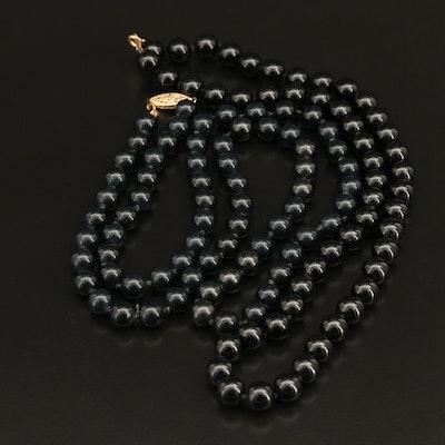 Round Black Onyx Beaded Necklaces