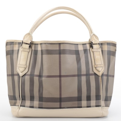 Burberry Tote Bag Large in ''Nova Check'' Coated Canvas and Off-White Leather