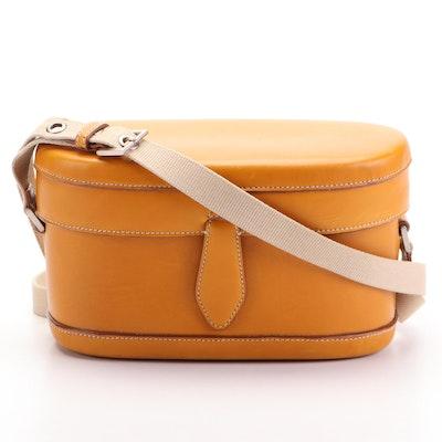 Jil Sander Structured Oval Flap Shoulder Bag in Dark Tan Calfskin