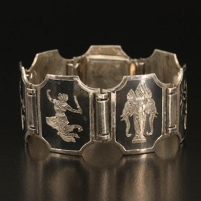 Thai Sterling Niello Panel Bracelet