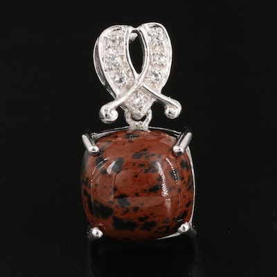 Sterling Mahogany Obsidian and White Topaz Pendant