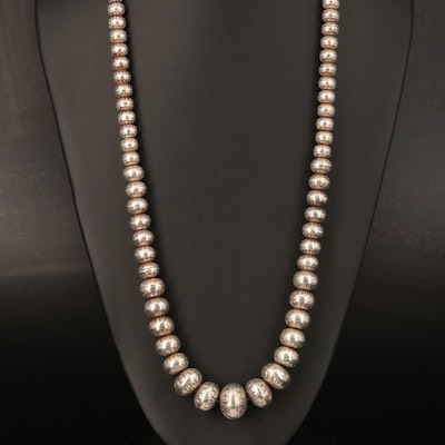 Gradated Sterling Bench Bead Necklace