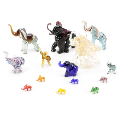 Murano Style and Other Blown Art Glass Elephant Figurines
