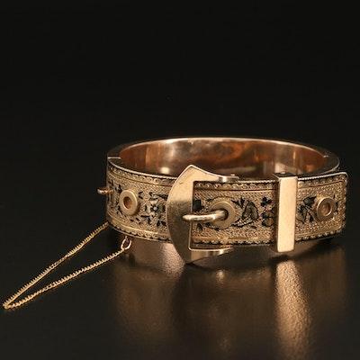 Victorian 14K Taille d'Épargne Hinged Buckle Bracelet