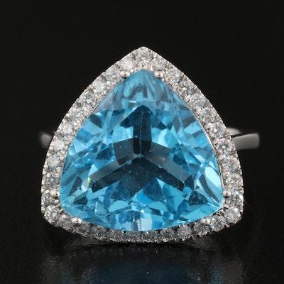14K 11.20 CT Swiss Blue Topaz and Diamond Ring