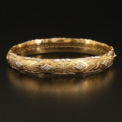 14K Two-Tone Gold Hinged Bangle