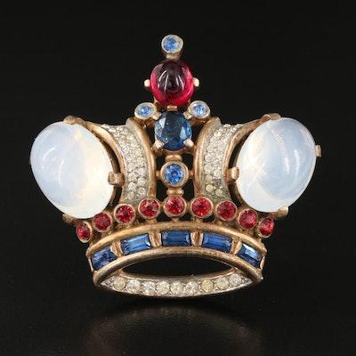 Vintage 1944 Alfred Philippe for Crown Trifari Coronation Rhinestone Brooch