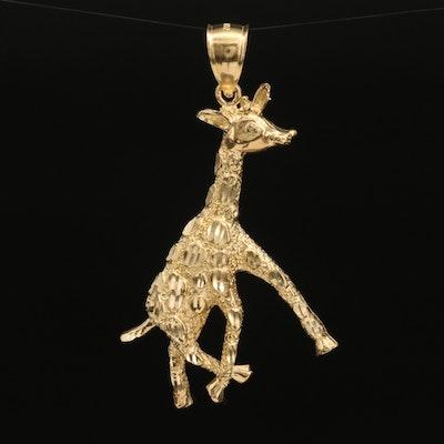 "14K Gold Giraffe Pendant with Diamond Cut ""Spots"""