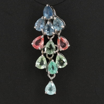Sterling Silver Sapphire and Tourmaline Articulated Drop Pendant