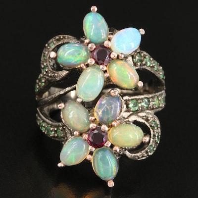 Sterling Opal, Garnet and Diopside Floral Ring