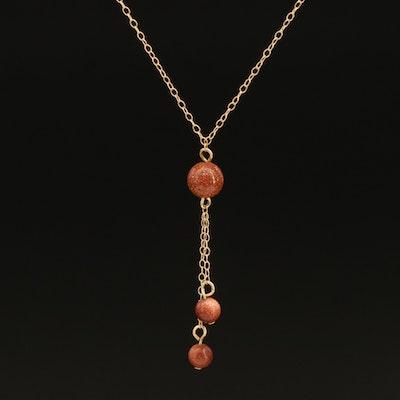 14K Goldstone Glass Necklace