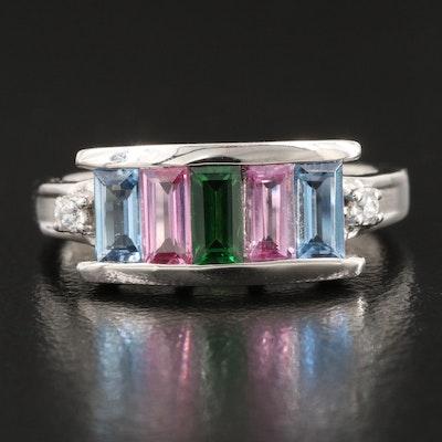 Sterling Silver Pink Sapphire, Tsavorite and White Zircon Ring