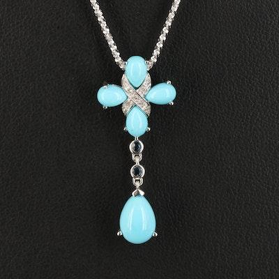 14K Turquoise, Sapphire and Diamond Pendant Necklace