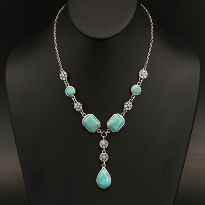 Sterling Rhinestone and Faux Turquoise Necklace