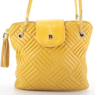 Bally Shoulder Bag in Yellow Quilted Leather with Tassel Zip Pull