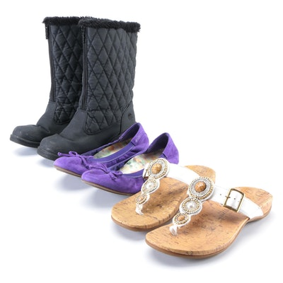 Totes Quiltie Rain Boots with Vionic Matira Flats and Adelie Sandals