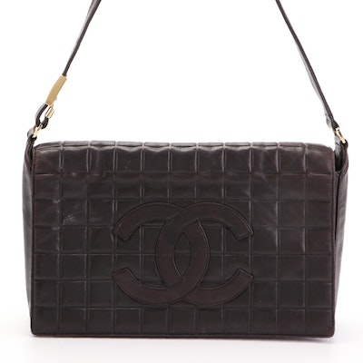 Chanel CC Chocolate Bar Flap Bag in Black Quilted Lambskin Leather