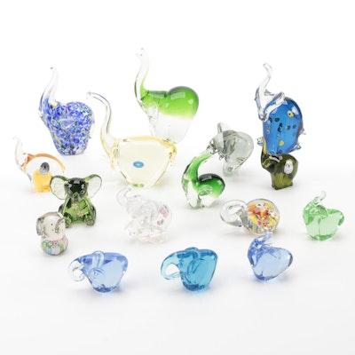 Fenton, Pilgrim, Fifth Avenue Crystal, and Other Art Glass Elephant Figurines