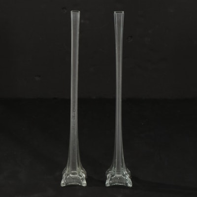 Two Glass Eiffel Tower Vases