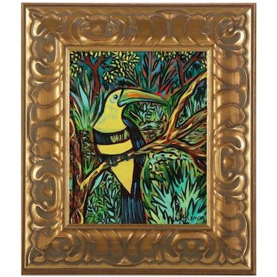 """Eric Lubkeman Acrylic Painting """"Toucan II,"""" 2000"""