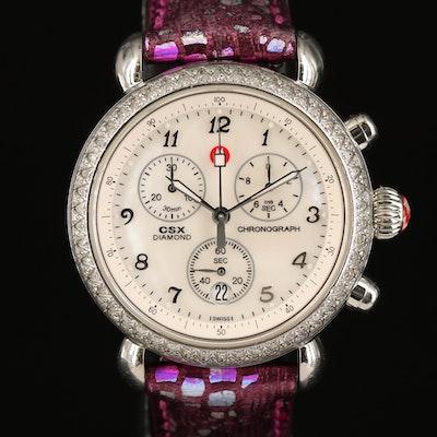 Michele CSX Diamond Chronograph Stainless Steel Wristwatch