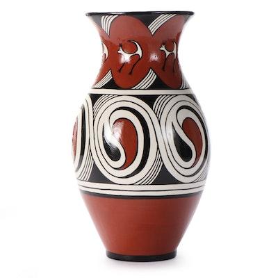 Ukrainian Hand-Painted Ceramic Vase of Trypillian Symbols, 1986