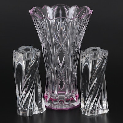 Pair of Baccarat Crystal Candlestick Holders with Lenox Crystal Vase