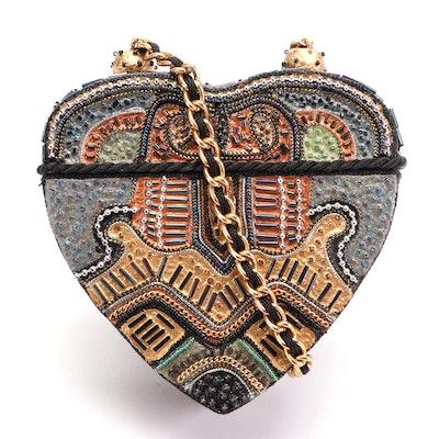 Mary Frances Beaded Paper Mache Heart Crossbody Evening Bag