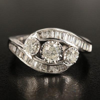 10K 1.30 CTW Diamond Bypass Ring