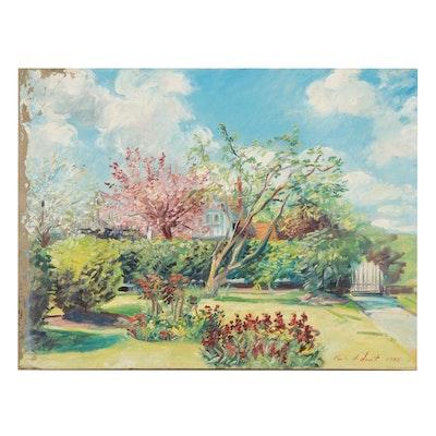 Charles Merrill Mount Courtyard Garden Oil Painting, 1965