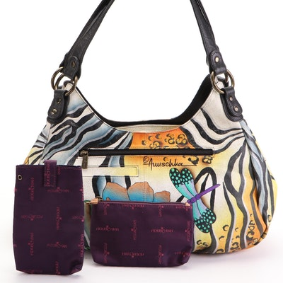 Anuschka Hand-Painted Dragonfly and Floral Leather Shoulder Bag with Accessories