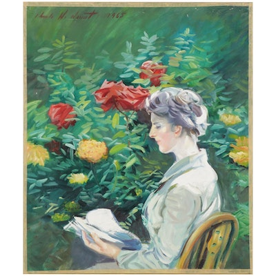 Charles Merrill Mount Oil Painting of Woman Reading in Garden, 1965
