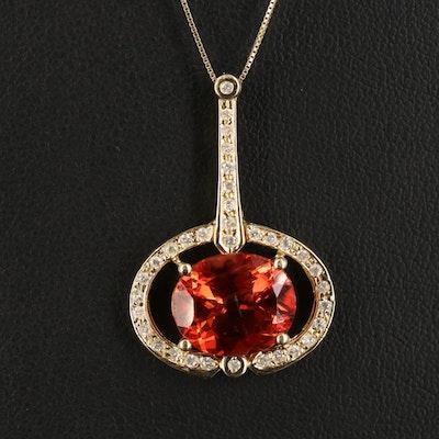 14K Labradorite and 0.39 CTW Diamond Pendant Necklace