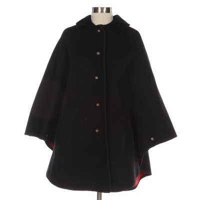 Button Front Cape in Double Face Black and Red Wool with Velvet Collar