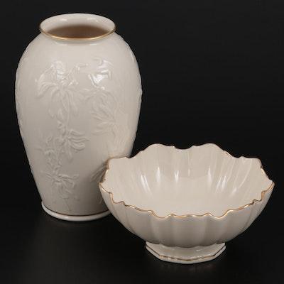 "Lenox ""Centennial"" and ""Symphony"" Bone China Vase and Bonbon Bowl"